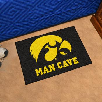 "19"" x 30"" University of Iowa Man Cave Starter Black Rectangle Mat"