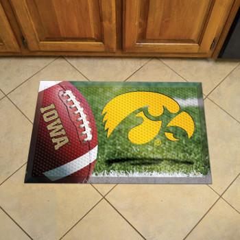 "19"" x 30"" University of Iowa Rectangle Scraper Mat - ""Hawkeye"" Logo"