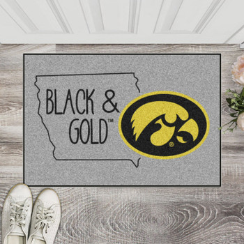 "19"" x 30"" University of Iowa Southern Style Gray Rectangle Starter Mat"