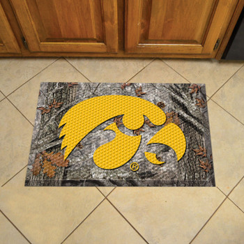 "19"" x 30"" University of Iowa Rectangle Camo Scraper Mat - ""Hawkeye"" Logo"