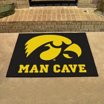 "33.75"" x 42.5"" University of Iowa Man Cave All-Star Black Rectangle Mat"