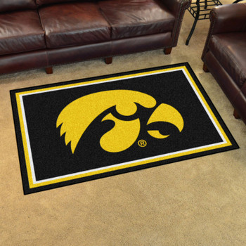 4' x 6' University of Iowa Black Rectangle Rug