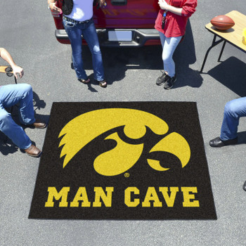 "59.5"" x 71"" University of Iowa Man Cave Tailgater Black Rectangle Mat"