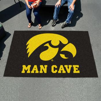 "59.5"" x 94.5"" University of Iowa Man Cave Black Rectangle Ulti Mat"