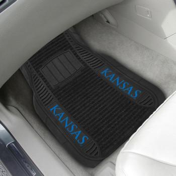 University of Kansas Deluxe Vinyl & Black Carpet Car Mat, Set of 2