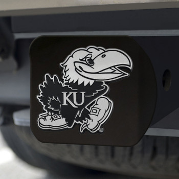 University of Kansas Hitch Cover - Chrome on Black