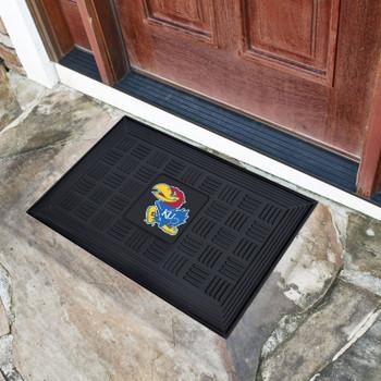 "19.5"" x 31.25"" University of Kansas Medallion Rectangle Door Mat"