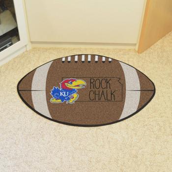 """20.5"""" x 32.5"""" University of Kansas Southern Style Football Shape Mat"""