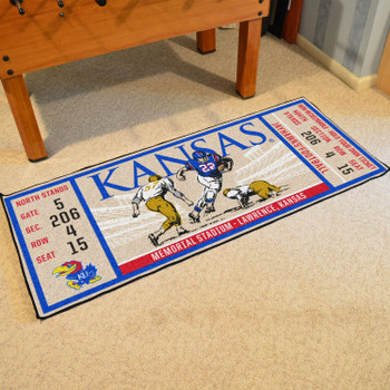 "30"" x 72"" University of Kansas Ticket Rectangle Runner Mat"