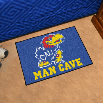 "19"" x 30"" University of Kansas Man Cave Starter Blue Rectangle Mat"