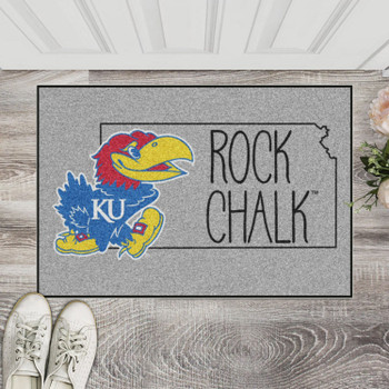 "19"" x 30"" University of Kansas Southern Style Gray Rectangle Starter Mat"