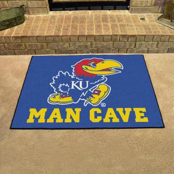 "33.75"" x 42.5"" University of Kansas Man Cave All-Star Blue Rectangle Mat"