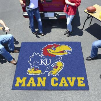 "59.5"" x 71"" University of Kansas Man Cave Tailgater Blue Rectangle Mat"