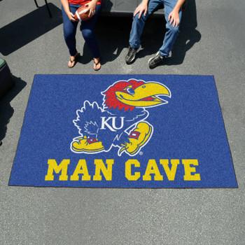 "59.5"" x 94.5"" University of Kansas Man Cave Blue Rectangle Ulti Mat"