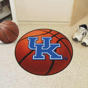 "27"" University of Kentucky UK Logo Orange Basketball Style Round Mat"