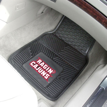 University of Louisiana-Lafayette Heavy Duty Vinyl Front Black Car Mat, Set of 2