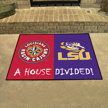 "33.75"" x 42.5"" UL-Lafayette / LSU House Divided Rectangle Mat"