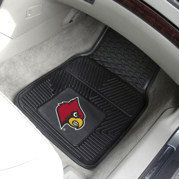 University of Louisville Heavy Duty Vinyl Front Black Car Mat, Set of 2