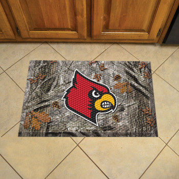 "19"" x 30"" University of Louisville Rectangle Camo Scraper Mat - ""Cardinal"" Logo"