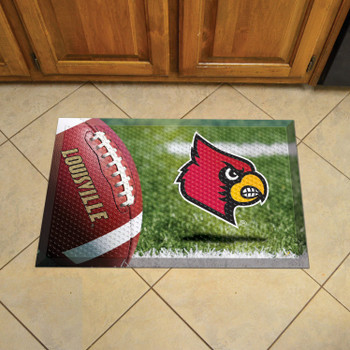"19"" x 30"" University of Louisville Rectangle Scraper Mat - ""Cardinal"" Logo"