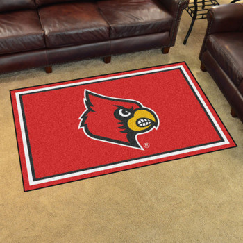 4' x 6' University of Louisville Red Rectangle Rug