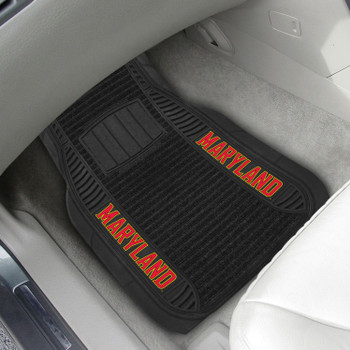 University of Maryland Deluxe Vinyl & Black Carpet Car Mat, Set of 2