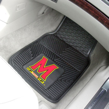 University of Maryland Heavy Duty Vinyl Front Black Car Mat, Set of 2