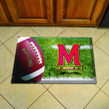 "19"" x 30"" University of Maryland Rectangle Scraper Mat - ""M & Flag Strip"" Logo"