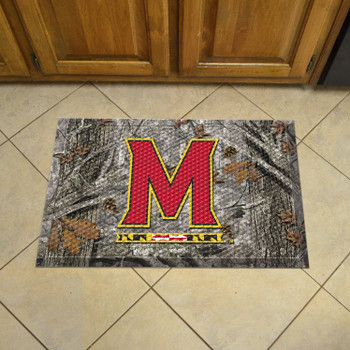 "19"" x 30"" University of Maryland Rectangle Camo Scraper Mat - ""M & Flag Strip"" Logo"