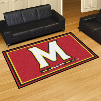 5' x 8' University of Maryland Red Rectangle Rug