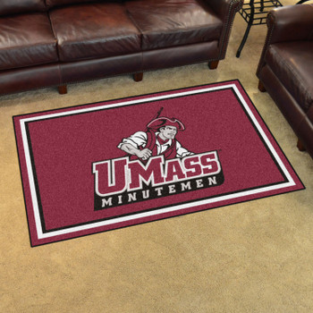 4' x 6' University of Massachusetts Maroon Rectangle Rug