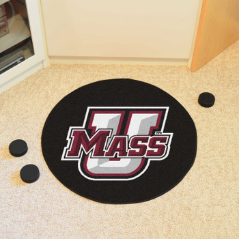 "27"" University of Massachusetts Puck Round Mat - ""U Mass"" Logo & Wordmark"