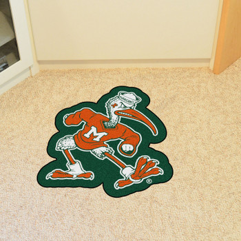 "University of Miami Mascot Mat - ""Sebastian the Ibis"" Logo"