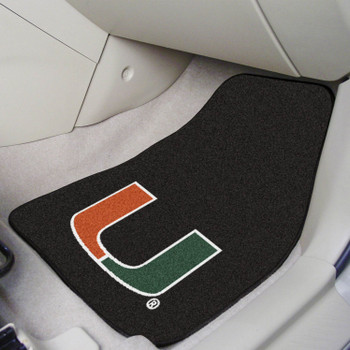 University of Miami Carpet Car Mat, Set of 2