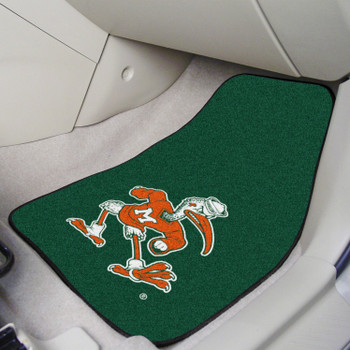 University of Miami Black Carpet Car Mat, Set of 2