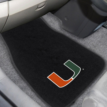 University of Miami Embroidered Black Car Mat, Set of 2