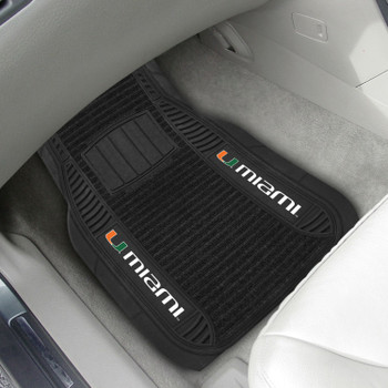 University of Miami Deluxe Vinyl & Black Carpet Car Mat, Set of 2