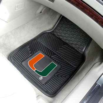 University of Miami Heavy Duty Vinyl Front Black Car Mat, Set of 2