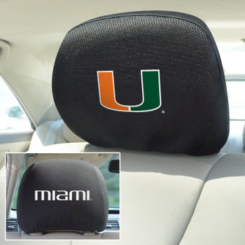 University of Miami Car Headrest Cover, Set of 2