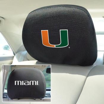 University of Miami Car Headrest Cover, Set of 2