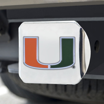 University of Miami Color Hitch Cover - Chrome
