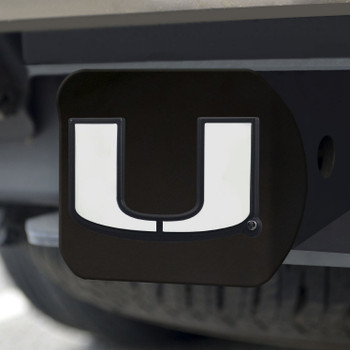University of Miami Hitch Cover - Chrome on Black