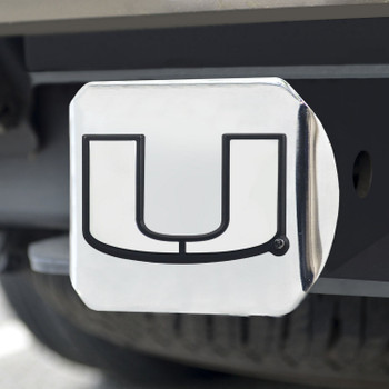 University of Miami Hitch Cover - Chrome on Chrome