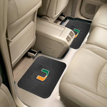 University of Miami Heavy Duty Vinyl Car Utility Mats, Set of 2