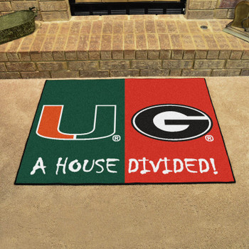 "33.75"" x 42.5"" University of Miami / Georgia House Divided Rectangle Mat"