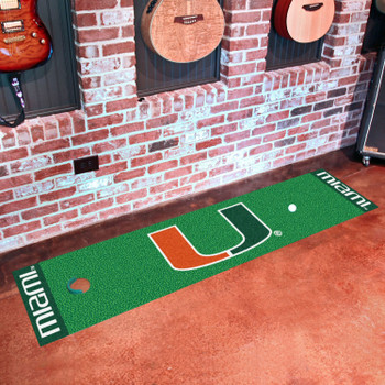 "18"" x 72"" University of Miami Putting Green Runner Mat"