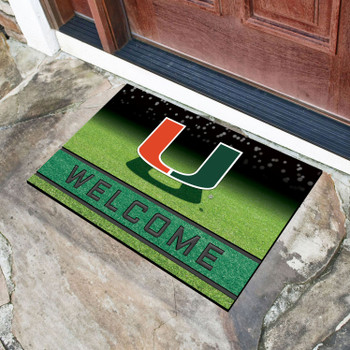 "18"" x 30"" University of Miami Crumb Rubber Door Mat"