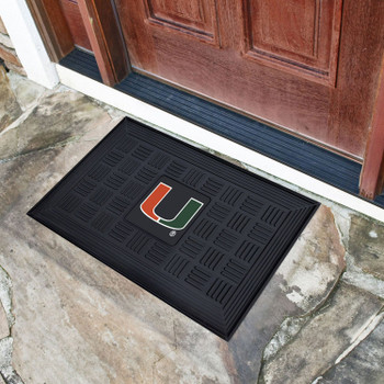 "19.5"" x 31.25"" University of Miami Medallion Rectangle Door Mat"