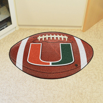 "20.5"" x 32.5"" University of Miami Hurricanes Football Shape Mat"