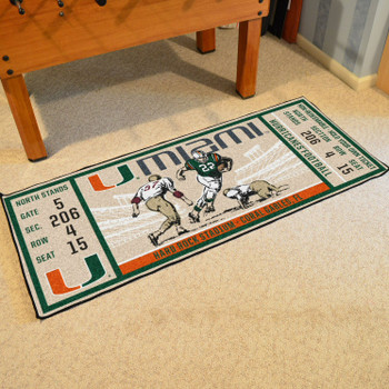 "30"" x 72"" University of Miami Ticket Rectangle Runner Mat"